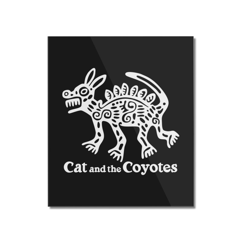 Azteca Dog Black and White Home Mounted Acrylic Print by Magic Inkwell