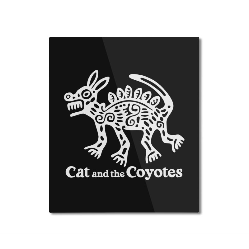 Azteca Dog Black and White Home Mounted Aluminum Print by Magic Inkwell