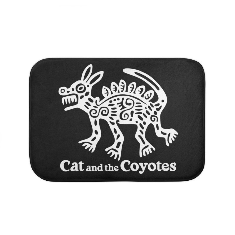 Azteca Dog Black and White Home Bath Mat by Magic Inkwell