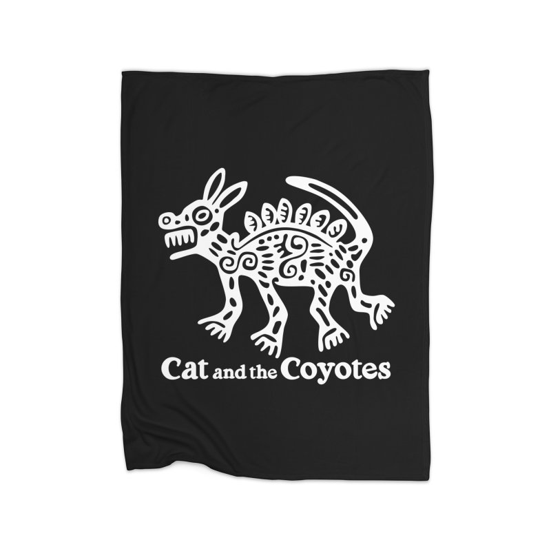 Azteca Dog Black and White Home Fleece Blanket Blanket by Magic Inkwell