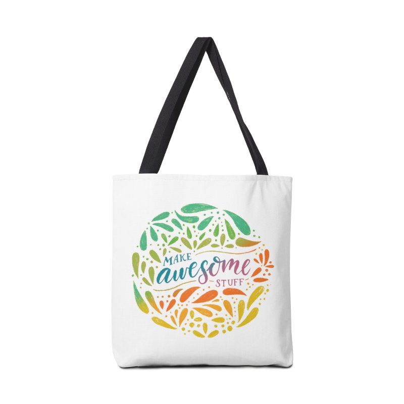 Make Awesome Stuff Rainbow Accessories Tote Bag Bag by Ceindydoodles's Artist Shop