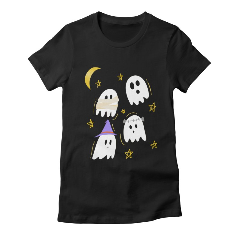 Cute Ghosts Want to Dress Up, too Women's Fitted T-Shirt by Ceindydoodles's Artist Shop