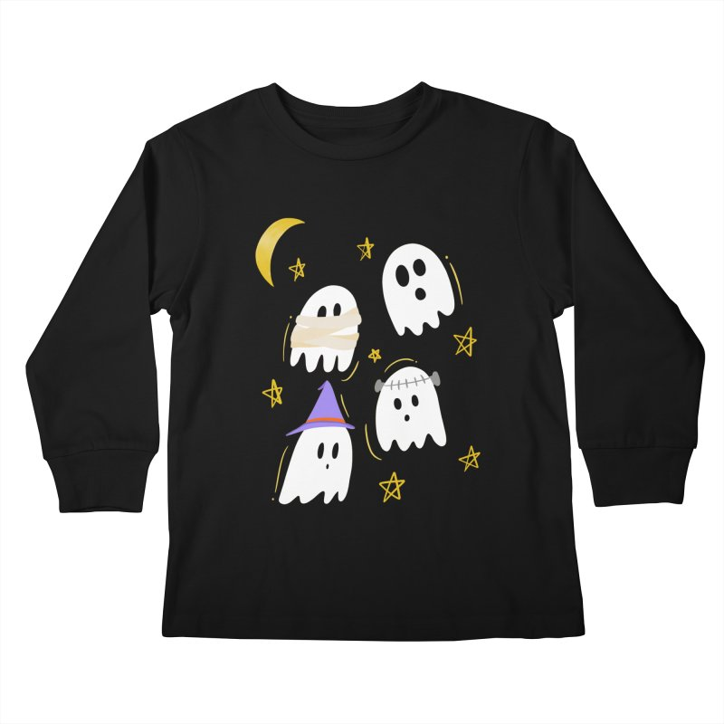 Cute Ghosts Want to Dress Up, too Kids Longsleeve T-Shirt by Ceindydoodles's Artist Shop