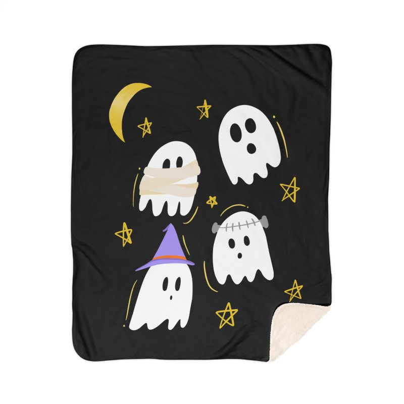 Cute Ghosts Want to Dress Up, too Home Sherpa Blanket Blanket by Ceindydoodles's Artist Shop