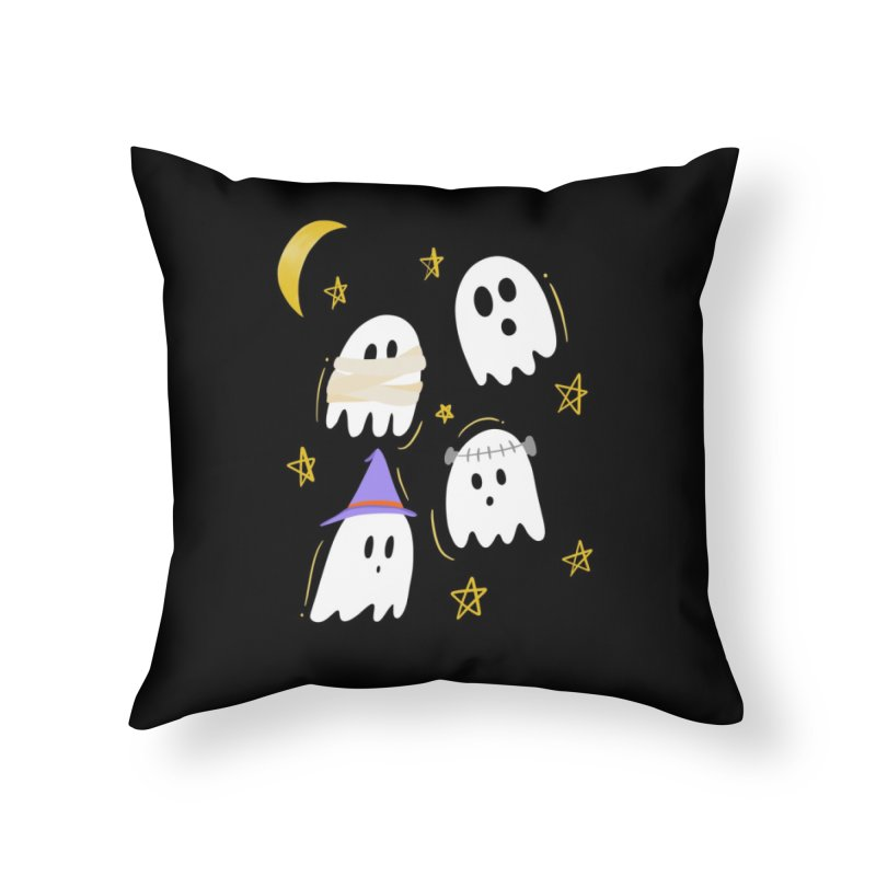 Cute Ghosts Want to Dress Up, too Home Throw Pillow by Ceindydoodles's Artist Shop