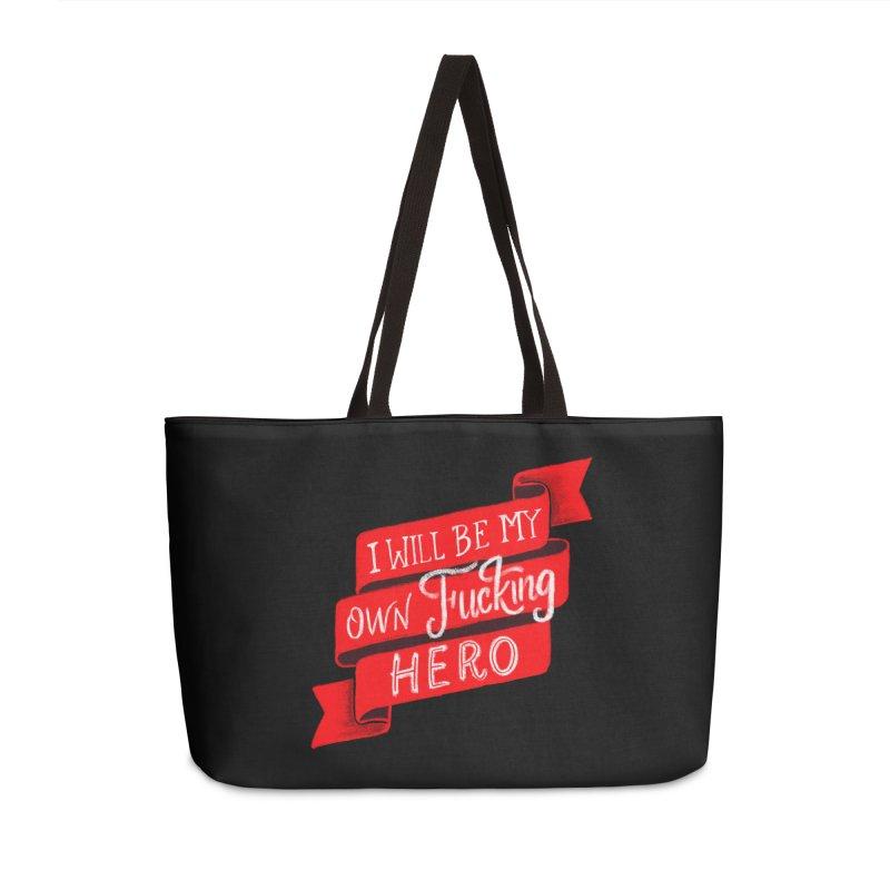 Be My Own Hero Accessories Weekender Bag Bag by Ceindydoodles's Artist Shop