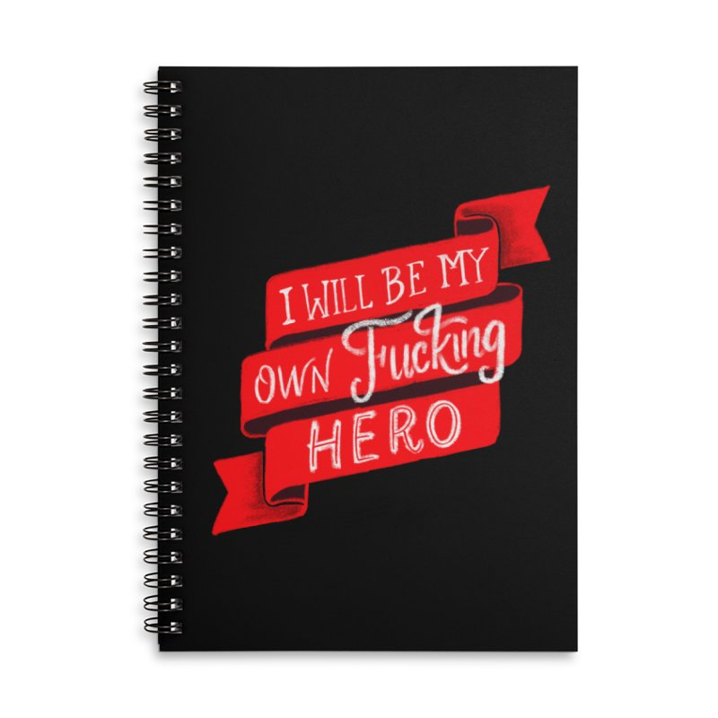 Be My Own Hero Accessories Lined Spiral Notebook by Ceindydoodles's Artist Shop
