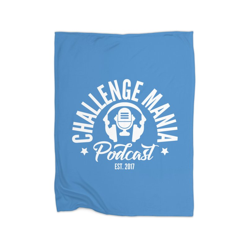Classic Podcast Logo (White) Home Fleece Blanket Blanket by Challenge Mania Shop