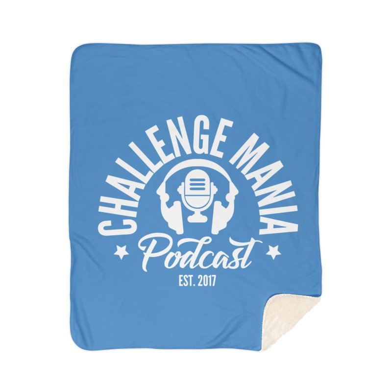 Classic Podcast Logo (White) Home Sherpa Blanket Blanket by Challenge Mania Shop