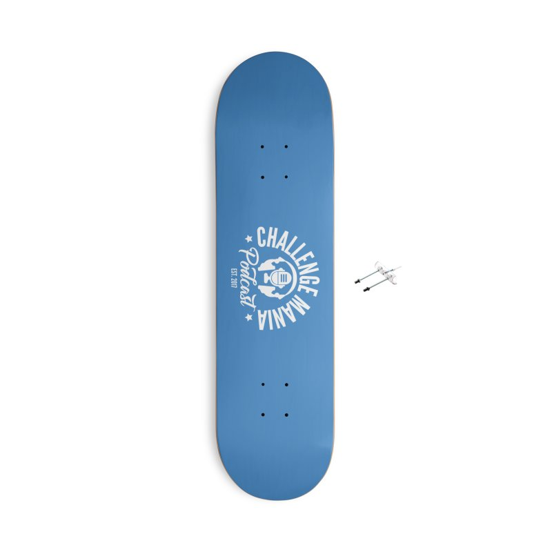 Classic Podcast Logo (White) Accessories With Hanging Hardware Skateboard by Challenge Mania Shop