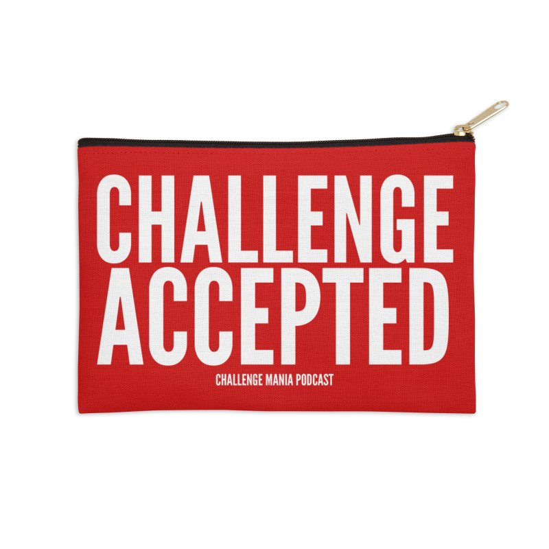 Challenge Accepted (White) Accessories Zip Pouch by Challenge Mania Shop