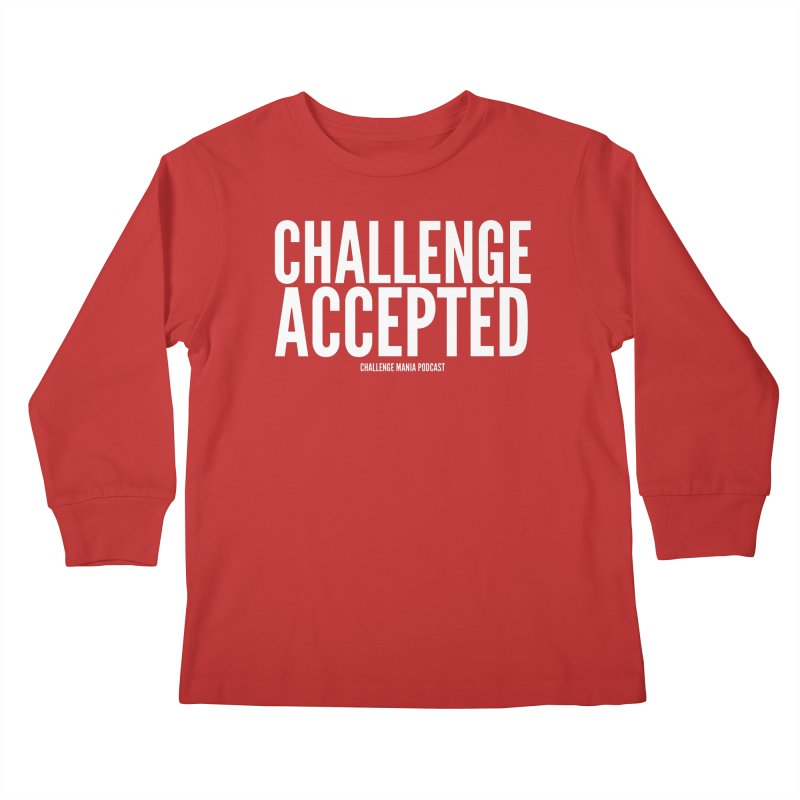 Challenge Accepted (White) Kids Longsleeve T-Shirt by Challenge Mania Shop