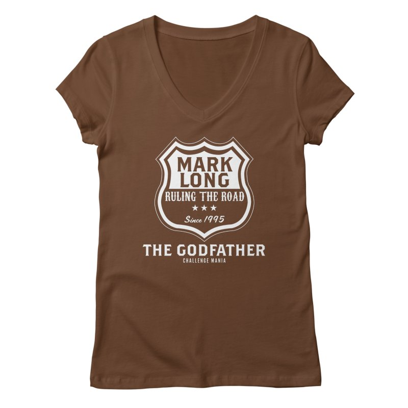 Mark Long Sign (White) Women's V-Neck by Challenge Mania Shop