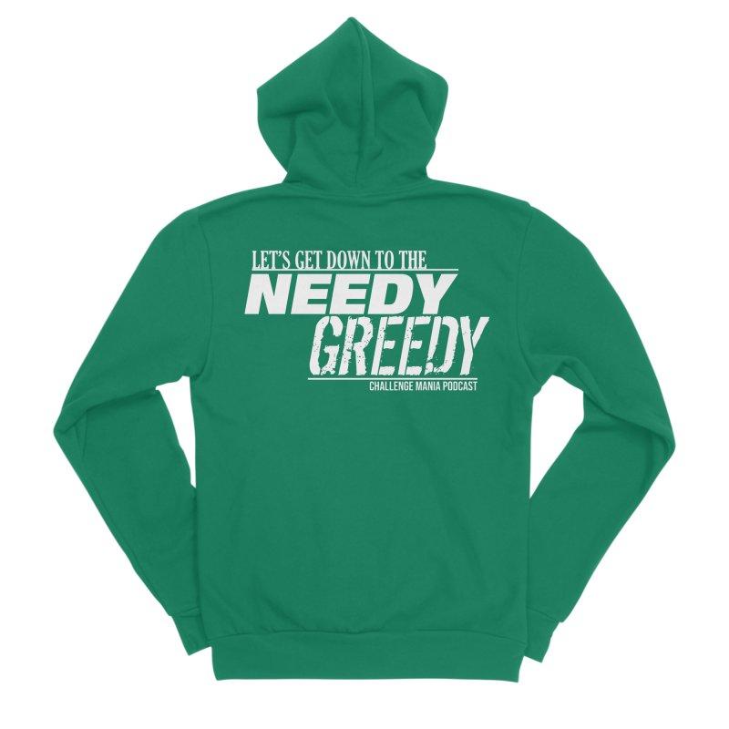Needy Greedy (White) Men's Sponge Fleece Zip-Up Hoody by Challenge Mania Shop