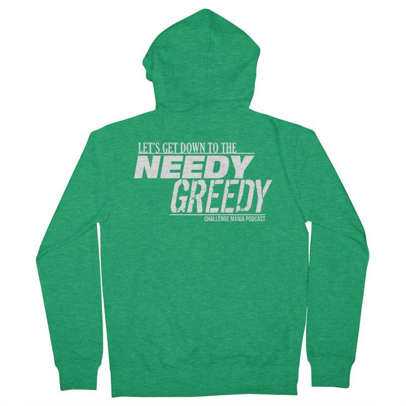 Needy Greedy (White) Women's Zip-Up Hoody by Challenge Mania Shop