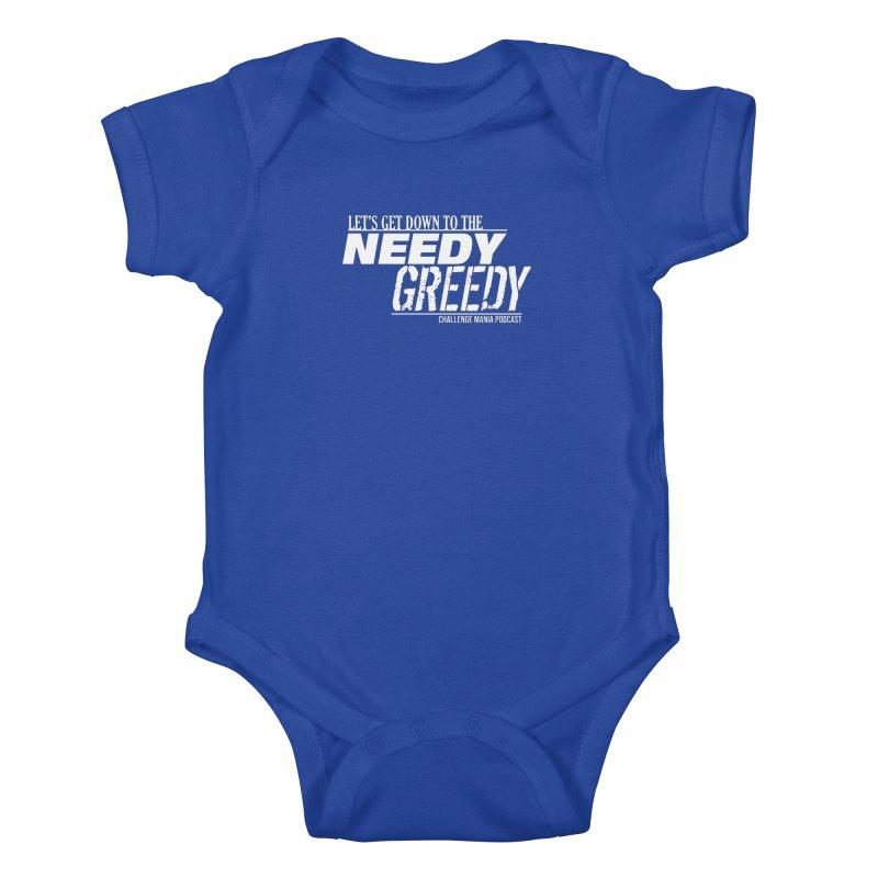 Needy Greedy (White) Kids Baby Bodysuit by Challenge Mania Shop