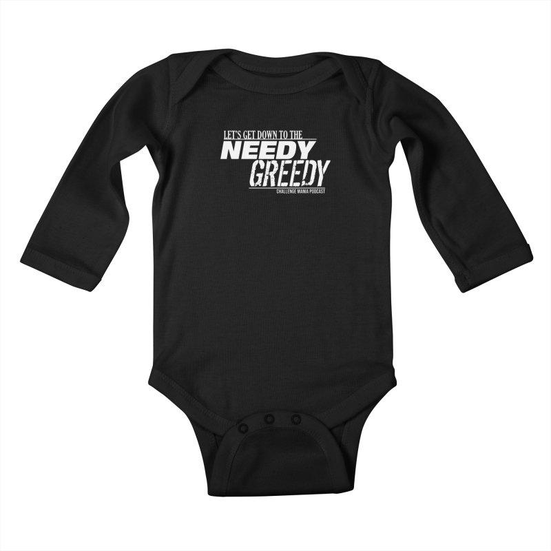 Needy Greedy (White) Kids Baby Longsleeve Bodysuit by Challenge Mania Shop