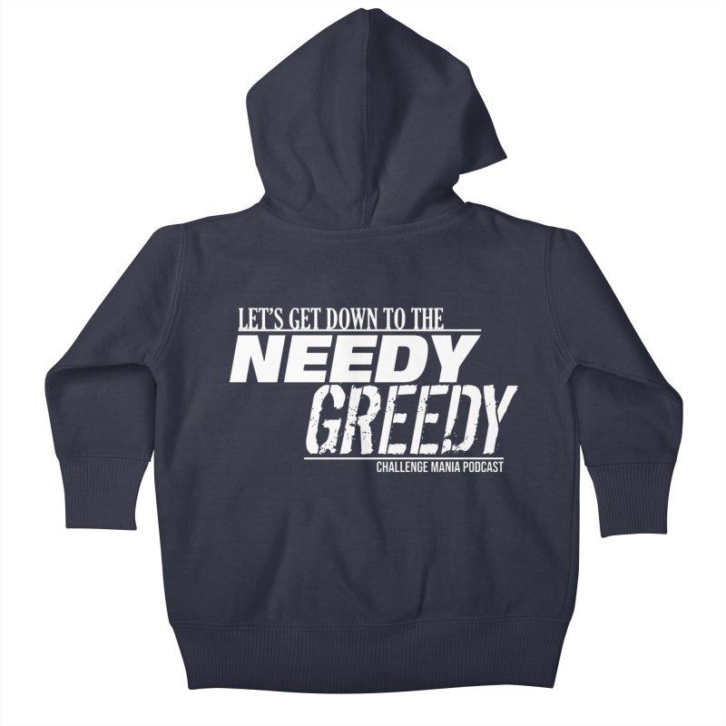 Needy Greedy (White) Kids Baby Zip-Up Hoody by Challenge Mania Shop