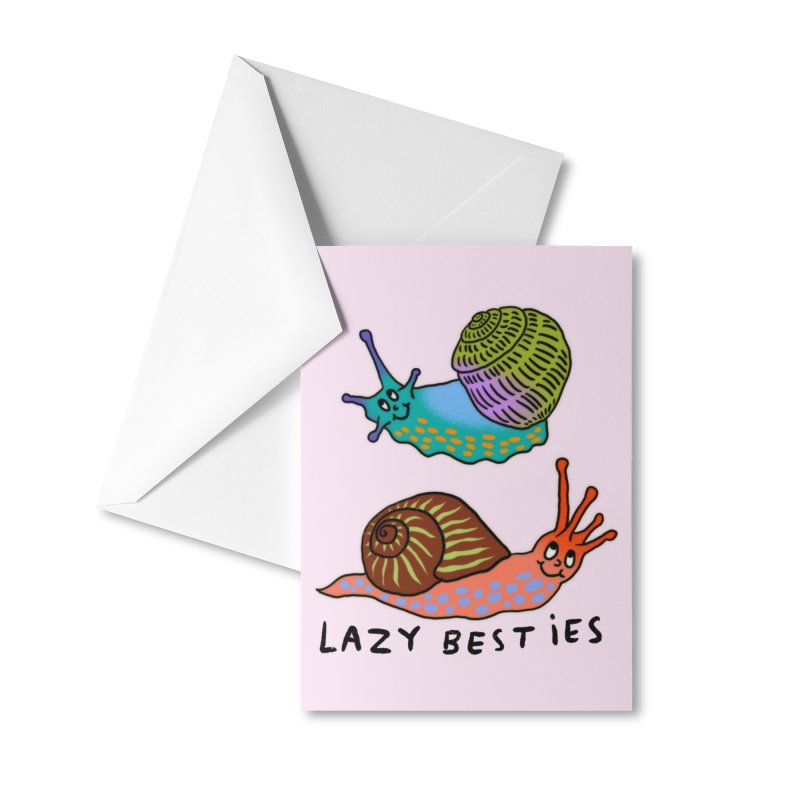 Lazy besties Accessories Greeting Card by Char Bataille Artwork
