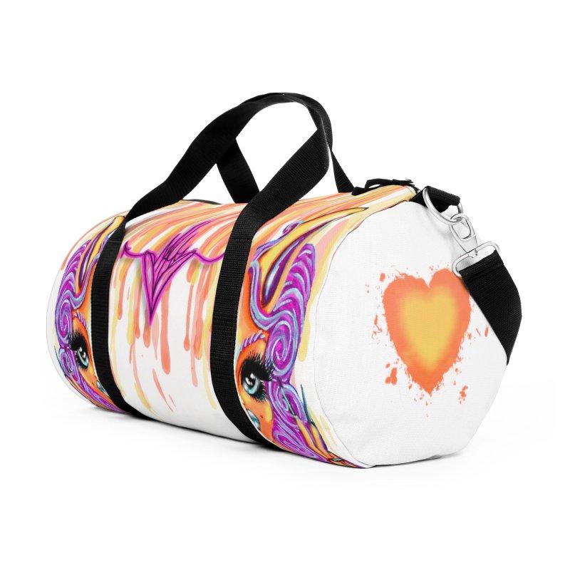 Orange Half Kitty Accessories Bag by CharOne's Artist Shop