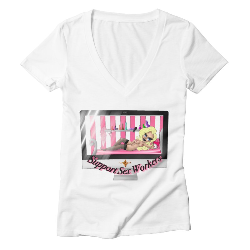 Support Sex Workers: Cam Girl Women's V-Neck by CharOne's Artist Shop