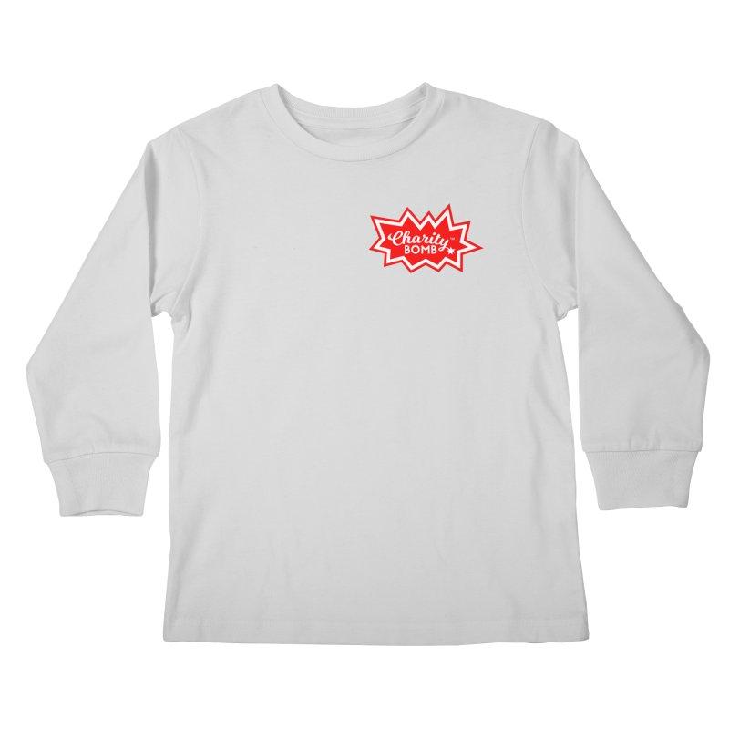 Charity Bomb logo red & white Kids Longsleeve T-Shirt by Charity Bomb