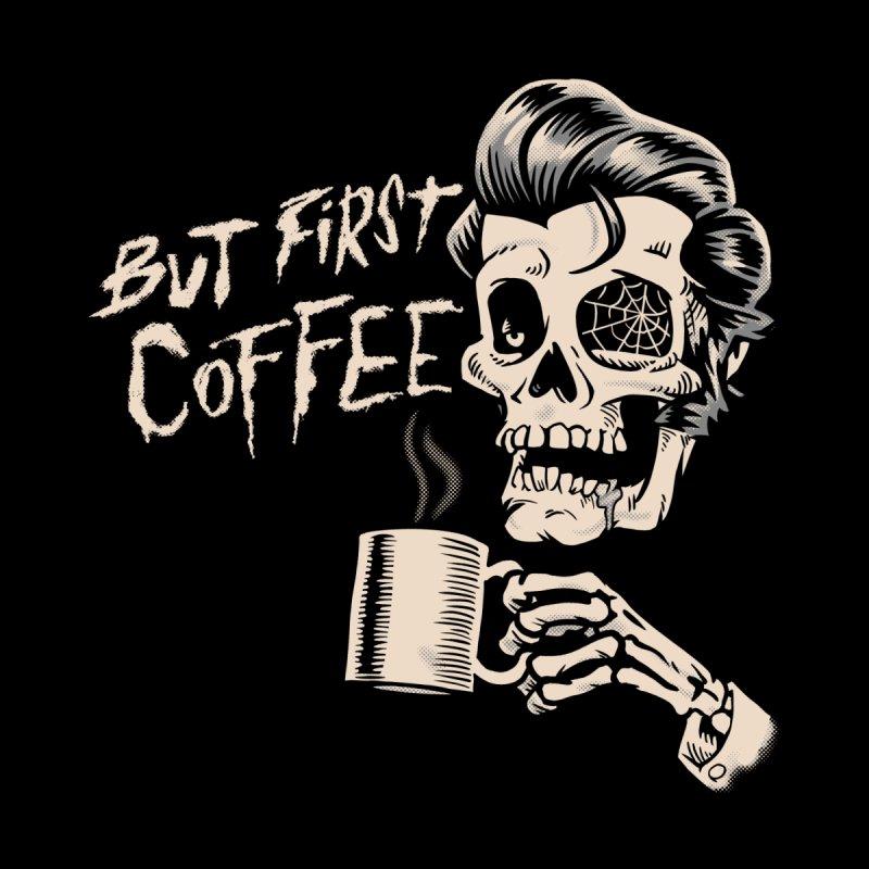 But First Coffee - Sleepy Rockabilly Zombie Skull Men's T-Shirt by Cheap Chills Fan Club