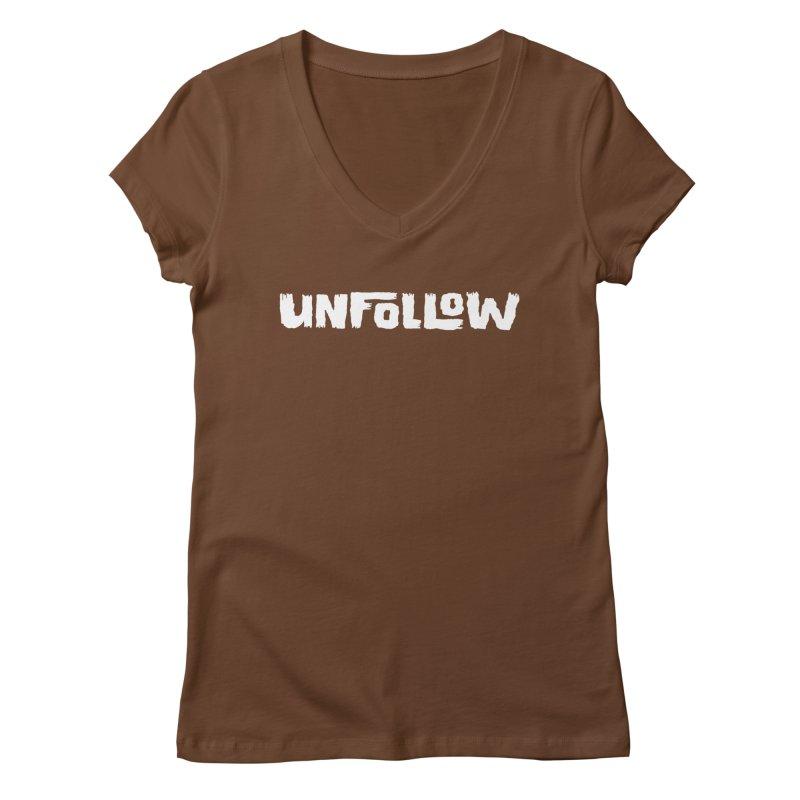 Unfollow Women's Regular V-Neck by Cheap Chills Fan Club