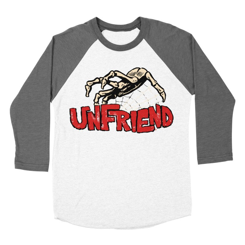 Unfriend three color extra spooky edtion Men's Baseball Triblend T-Shirt by Cheap Chills Fan Club