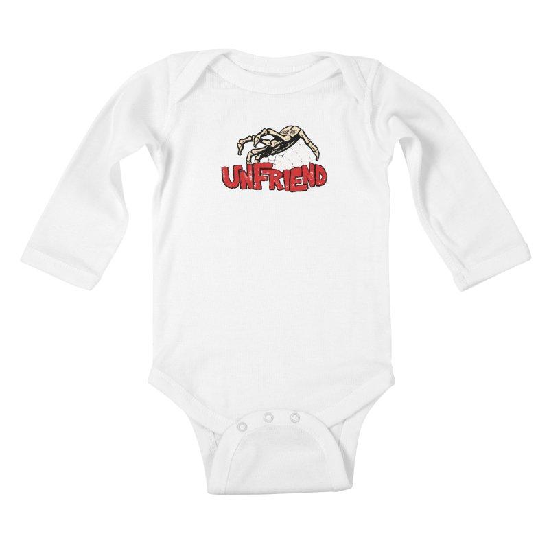 Unfriend three color extra spooky edtion Kids Baby Longsleeve Bodysuit by Cheap Chills Fan Club