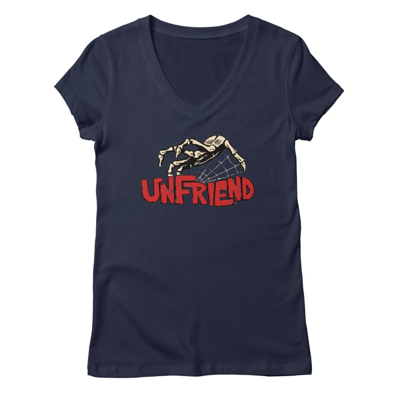 Unfriend three color extra spooky edtion Women's V-Neck by Cheap Chills Fan Club