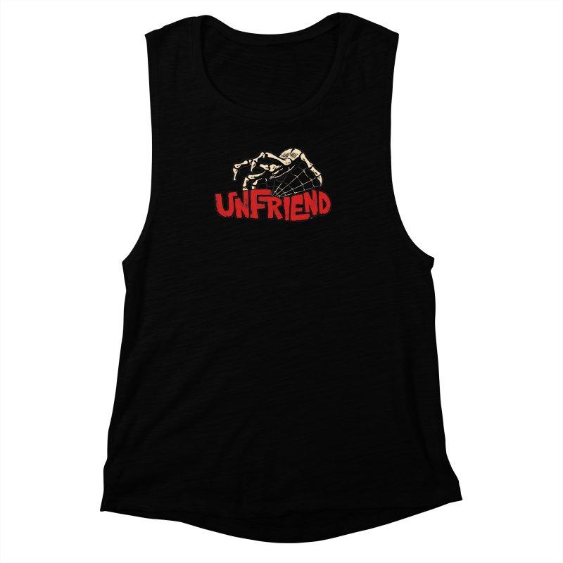 Unfriend three color extra spooky edtion Women's Muscle Tank by Cheap Chills Fan Club