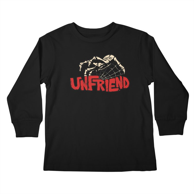 Unfriend three color extra spooky edtion Kids Longsleeve T-Shirt by Cheap Chills Fan Club