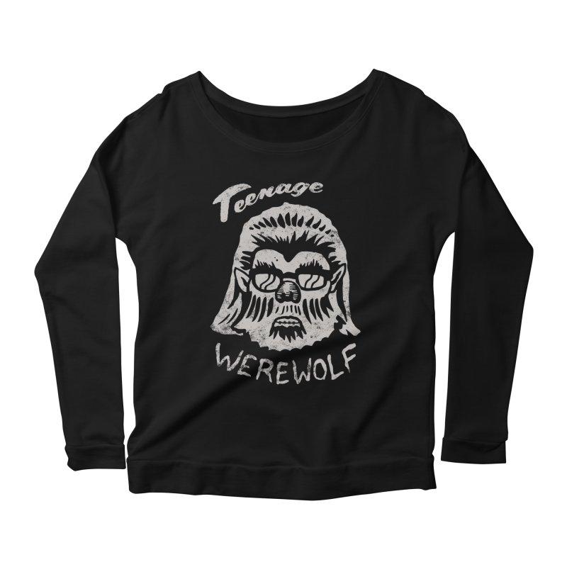 Teenage Werewolf - Silver edition Women's Scoop Neck Longsleeve T-Shirt by Cheap Chills Fan Club