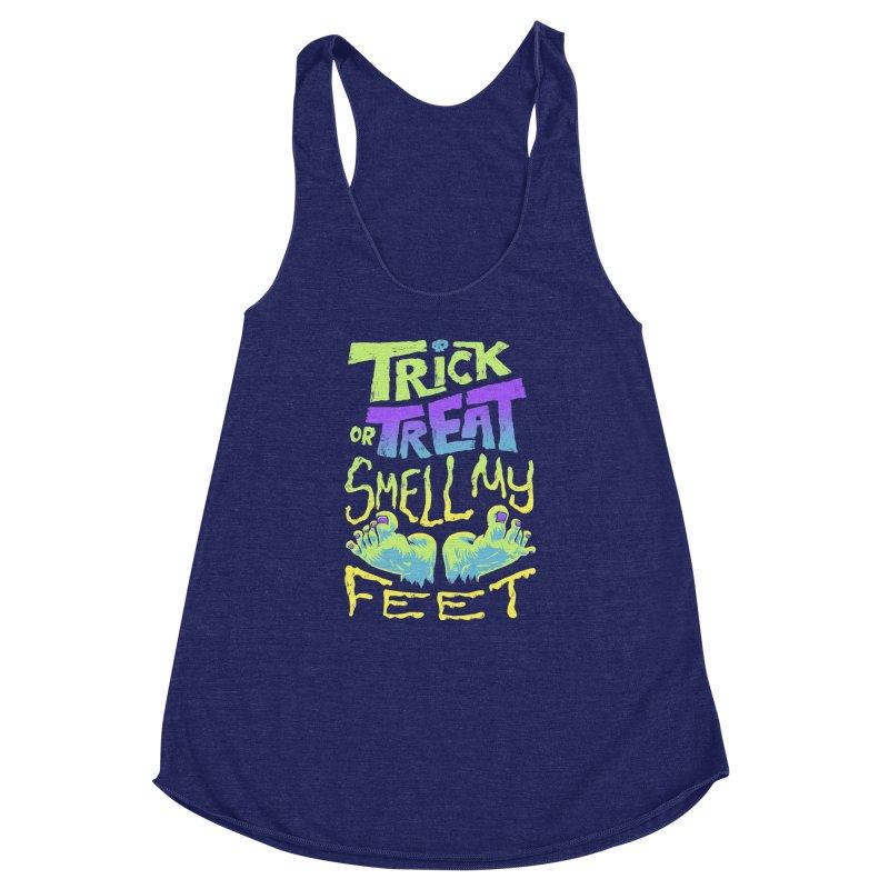 Trick or Treat Smell my Feet- Halloween Tee Women's Racerback Triblend Tank by Cheap Chills Fan Club