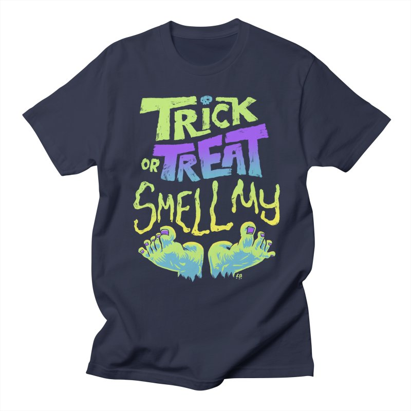 Trick or Treat Smell my Feet- Halloween Tee in Men's Regular T-Shirt Navy by Cheap Chills Fan Club