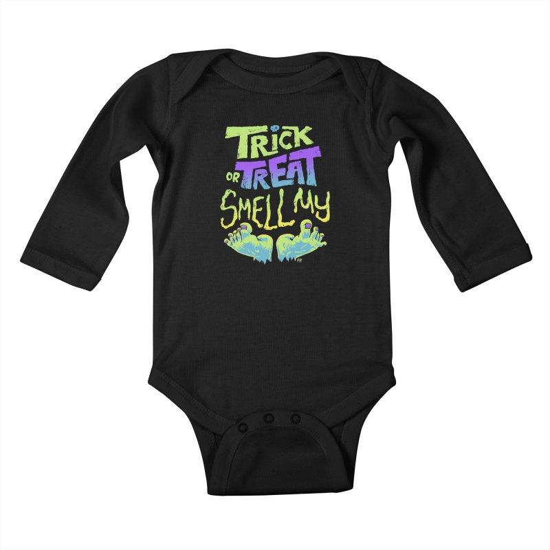 Trick or Treat Smell my Feet- Halloween Tee Kids Baby Longsleeve Bodysuit by Cheap Chills Fan Club