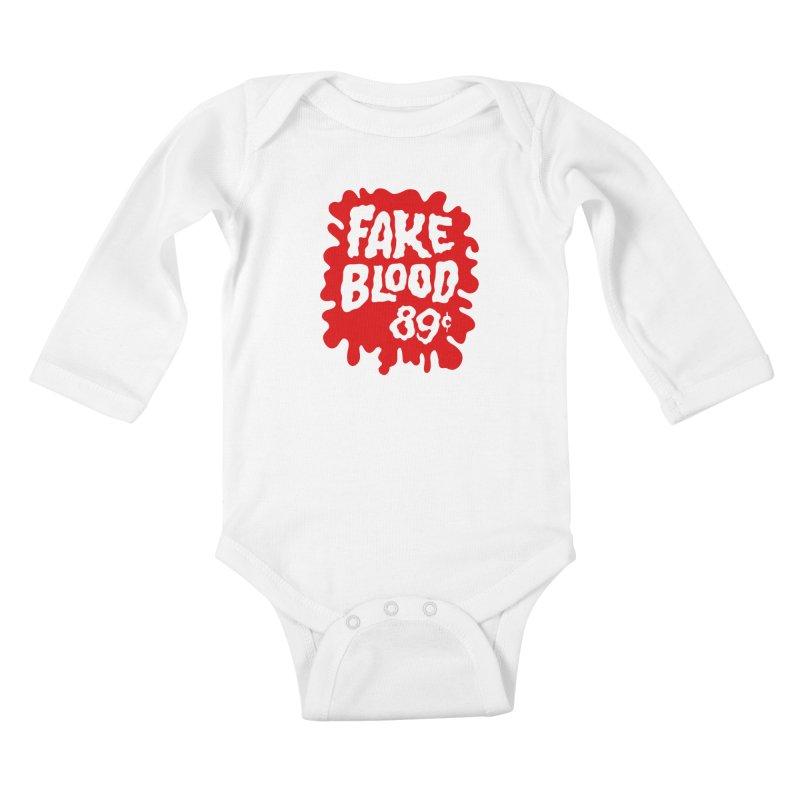 Fake Blood 89¢ Kids Baby Longsleeve Bodysuit by Cheap Chills Fan Club