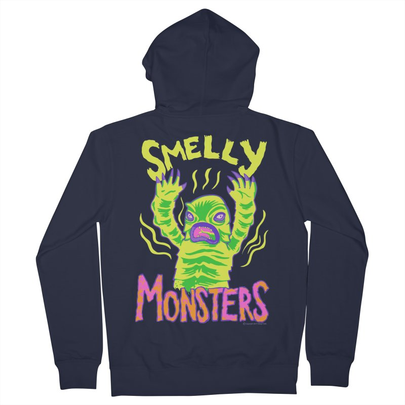 Smelly Monsters - Weird Swamp Creature That Smells T-shirt Men's French Terry Zip-Up Hoody by Cheap Chills Fan Club