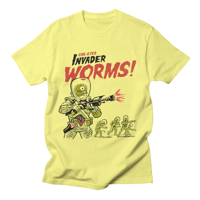 One-Eyed Invader Worms! Men's T-Shirt by Cheap Chills Fan Club