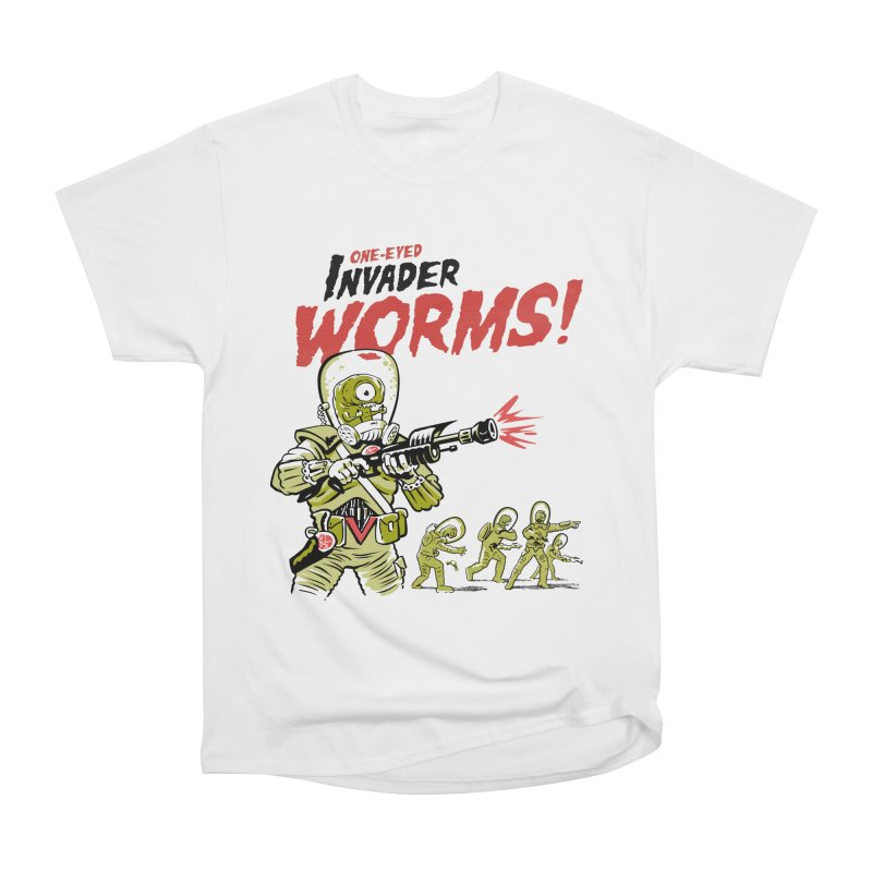 One-Eyed Invader Worms! Men's Heavyweight T-Shirt by Cheap Chills Fan Club