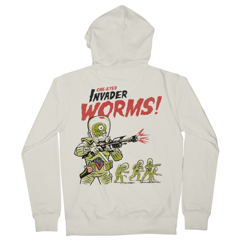 One-Eyed Invader Worms! Men's French Terry Zip-Up Hoody by Cheap Chills Fan Club