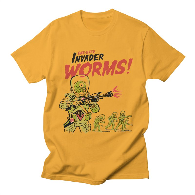 One-Eyed Invader Worms! Men's Regular T-Shirt by Cheap Chills Fan Club
