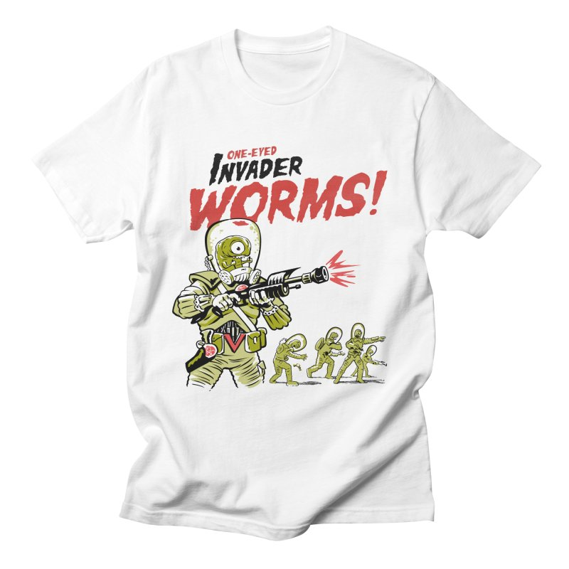 One-Eyed Invader Worms! in Men's Regular T-Shirt White by Cheap Chills Fan Club