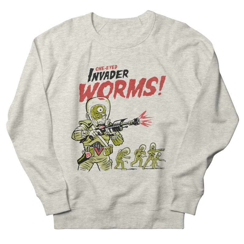 One-Eyed Invader Worms! Men's French Terry Sweatshirt by Cheap Chills Fan Club