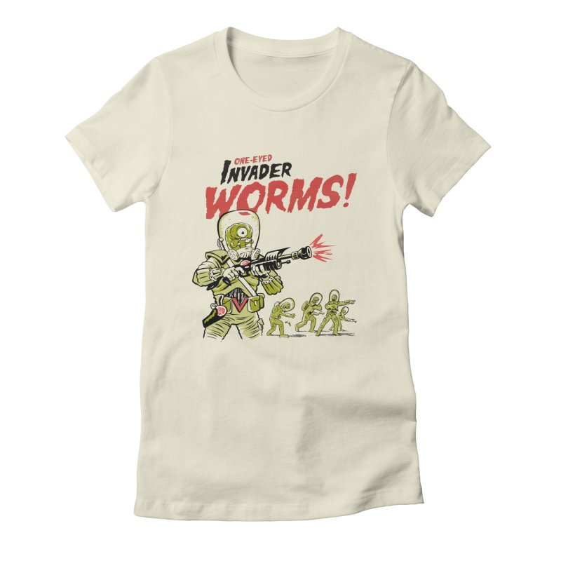 One-Eyed Invader Worms! Women's T-Shirt by Cheap Chills Fan Club