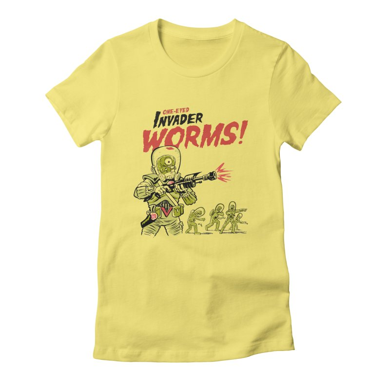 One-Eyed Invader Worms! Women's Fitted T-Shirt by Cheap Chills Fan Club