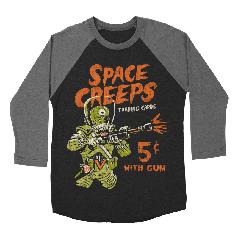 Space Creeps - 5 cents with Gum Men's Baseball Triblend Longsleeve T-Shirt by Cheap Chills Fan Club