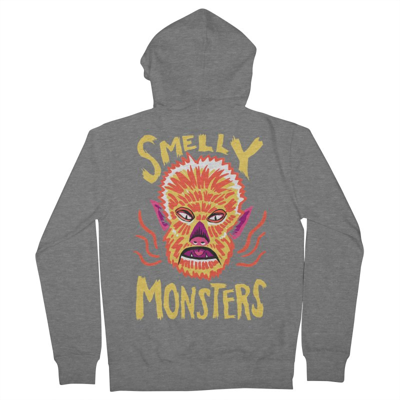 Smelly Monsters - Wolf Man has Bad Breath Men's French Terry Zip-Up Hoody by Cheap Chills Fan Club