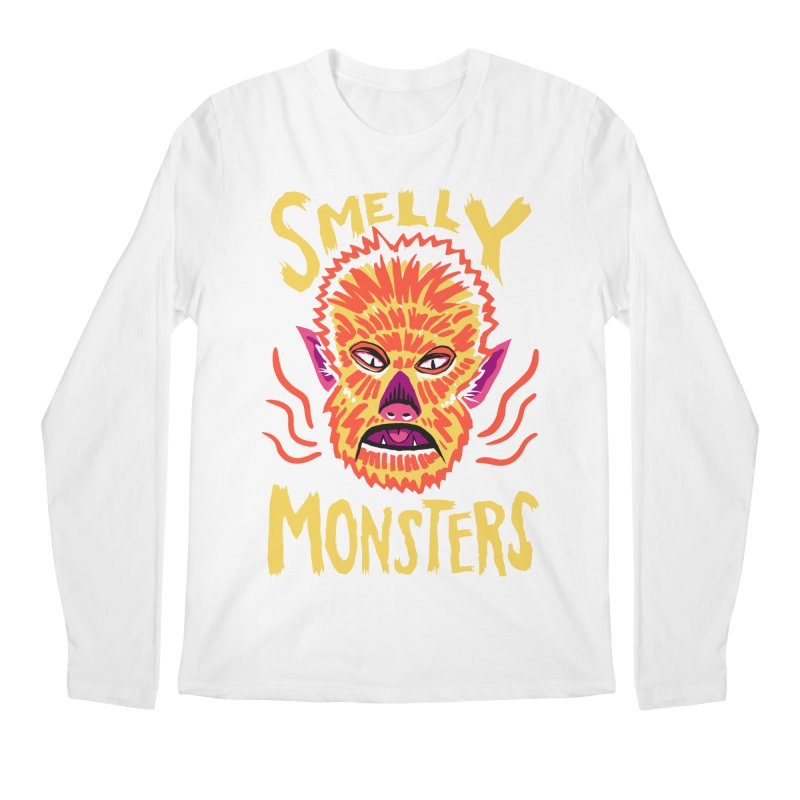 Smelly Monsters - Wolf Man has Bad Breath Men's Regular Longsleeve T-Shirt by Cheap Chills Fan Club